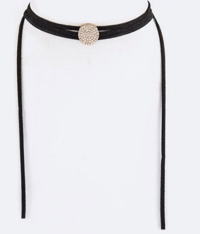 CZ Pave Disc Wrapped Choker