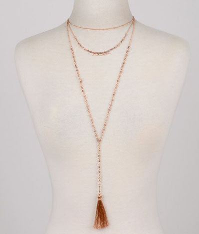 Multi-Layered Tassel Charm Necklace in Rose Gold