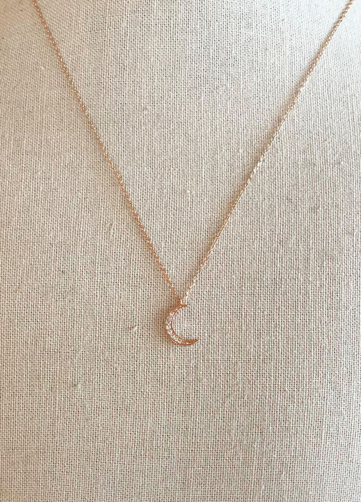 Crescent Moon Necklace in Rose Gold