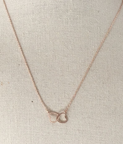 Double Heart Necklace in Rose Gold