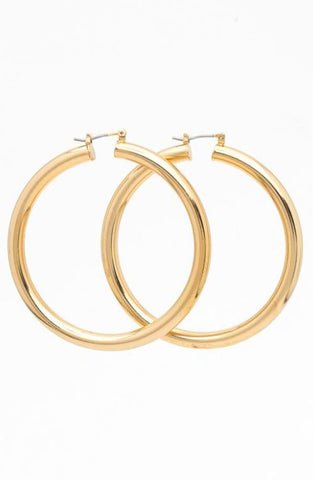 Thick Simple Hoop in Gold