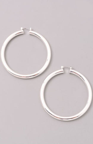 Thick Simple Hoop in Silver