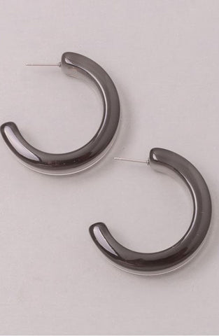 Lucite Hoops in Smoky Grey