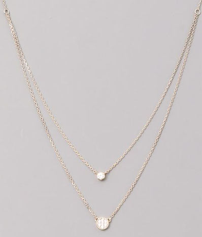 Double Layered Jewel Necklace in Gold