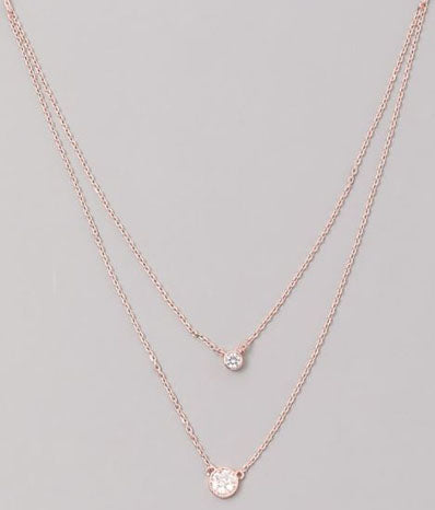 Double Layered Jewel Necklace in Rose Gold