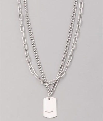 Dog Tag Layered Pendant Necklace