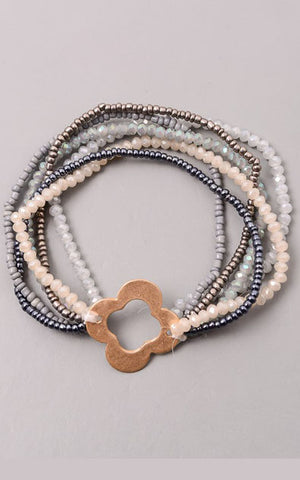 Beaded Multi Layer Clover Stretch Bracelet in Grey