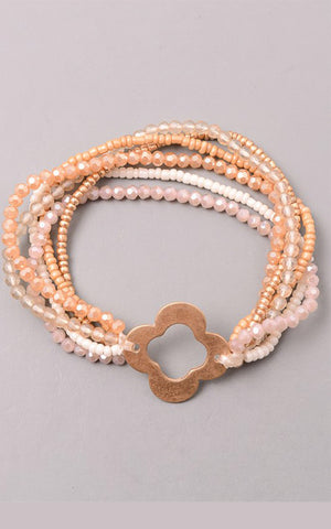 Beaded Multi Layer Clover Stretch Bracelet in Natural