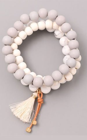 Grey and White Bead Tassel Trio Bracelet