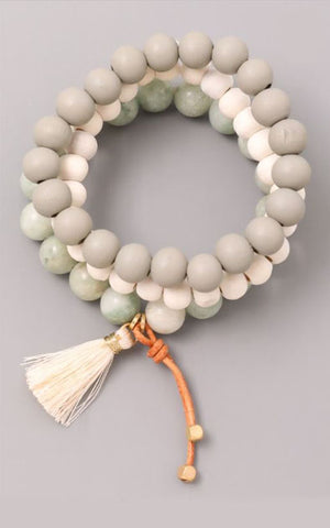Shades of Mint Bead Tassel Trio Bracelet