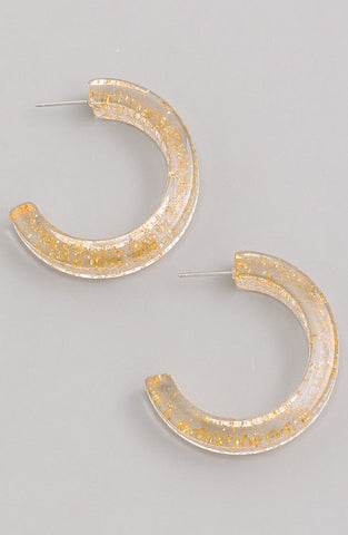 Lucite Hoops in Gold Glitter