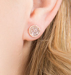 Circle Druzy Studs in Rose Gold