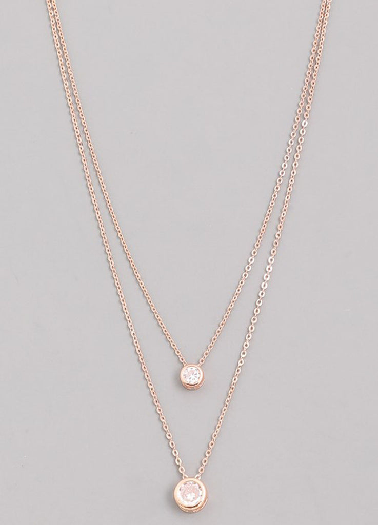 Double Strand CZ Bezel Necklace in Rose Gold