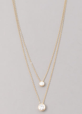 Double Strand CZ Bezel Necklace in Gold
