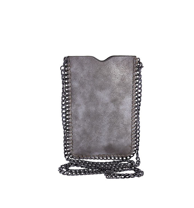 Distressed Silver Cell Phone Crossbody Bag