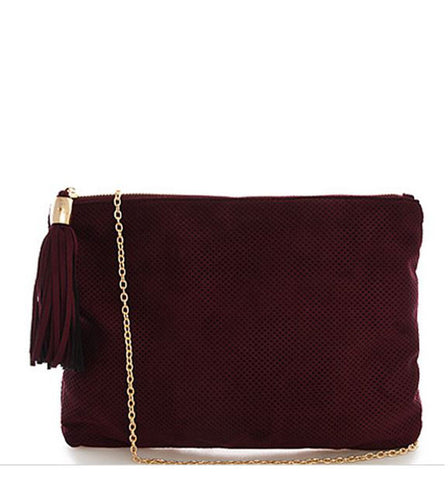 The Kimberly Perforated Suede Clutch in Wine