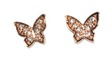 CZ Butterfly Studs in Rose Gold