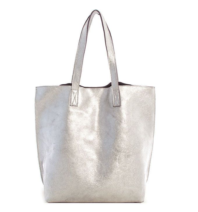 Amy Leather Tote in Silver
