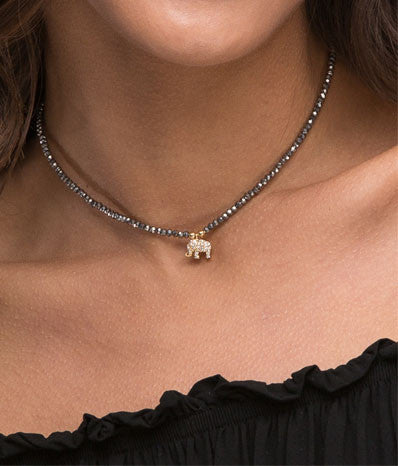 Graphite Beaded Choker Necklace with CZ Elephant
