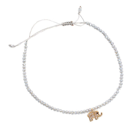 Crystal Pale Grey Beaded Bracelet with Elephant Charm