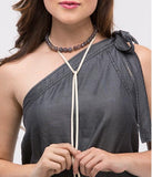 Bead and Suede Wrap Choker in Grey