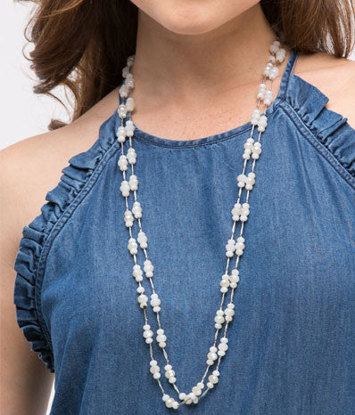 Triple Faceted Bead Wrap Necklace