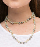 Faceted Bead and Cotton Cord Necklace in Jade/Sage