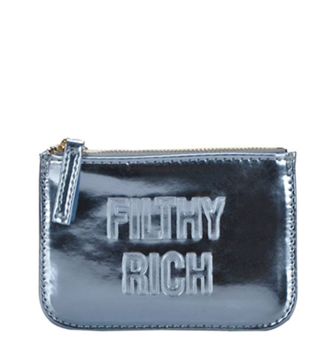 Filthy Rich Coin Pouch in Metallic Blue