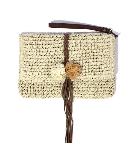 Zoe Clutch in Natural