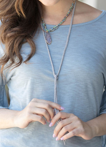 Long Wrap Choker Necklace in Grey