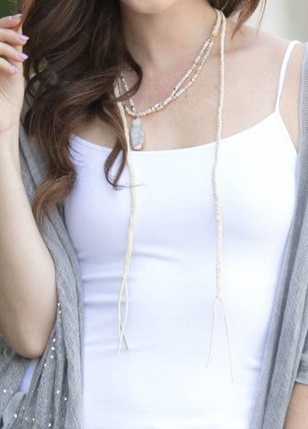 Long Wrap Choker Necklace in Ivory
