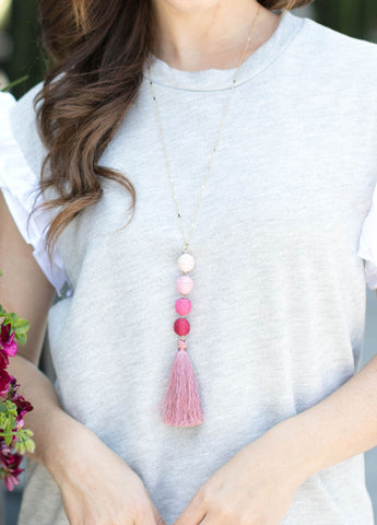 Stacked Corded Ball Pendant Necklace in Pink