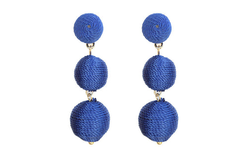 Classic Silk Corded Drop Earrings in Royal Blue