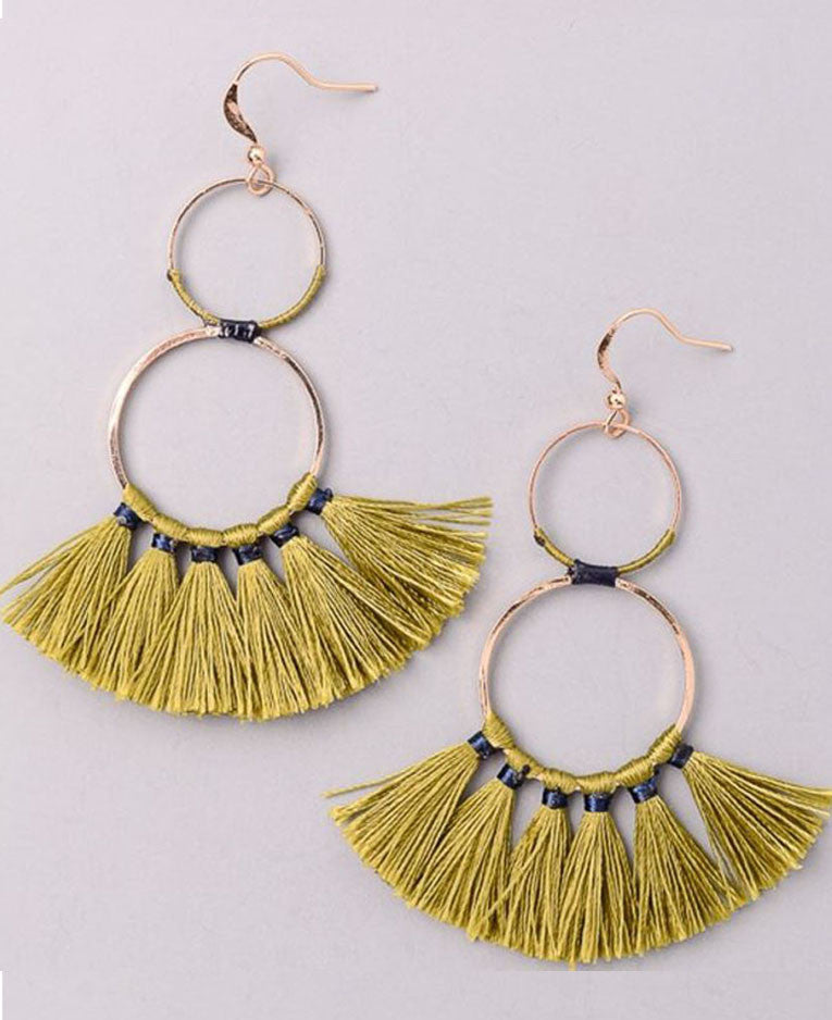 Double Hoop Tassel Earring in Olive