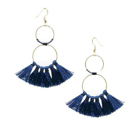 Double Hoop Tassel Earring in Navy