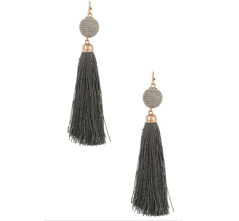 Corded Ball with Tassel Drop Earring