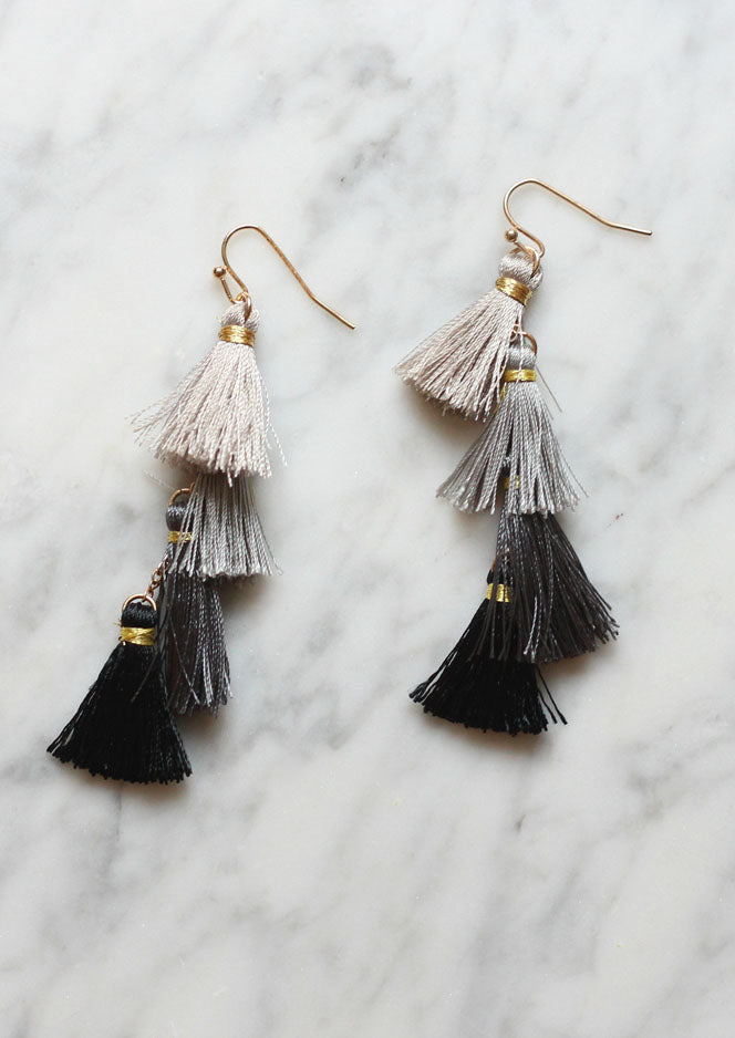 Ombre Tiered Tassel Earrings in Grey