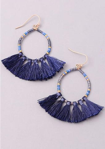 Circle Beaded Tassel Earrings
