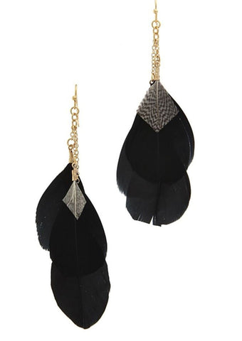 Cascading Feather Earrings in Black