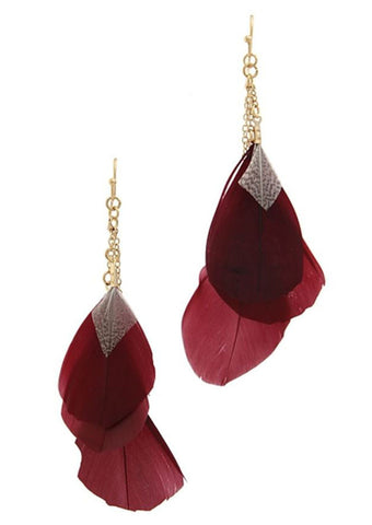 Cascading Feather Earrings in Burgundy