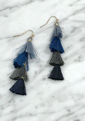 Ombre Tiered Tassel Earrings in Blue