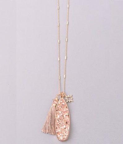 Druzy Pendant with Mini Tassel in Rose Gold