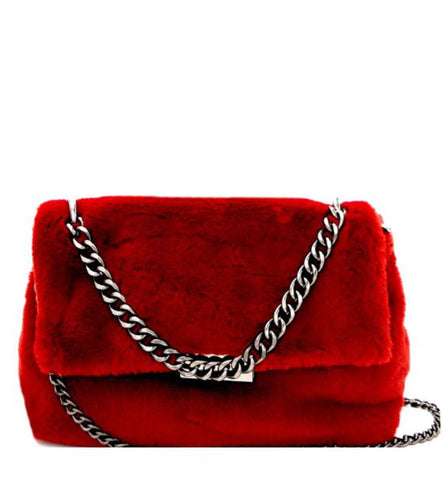 Victoria Faux Fur Crossbody in Burgundy