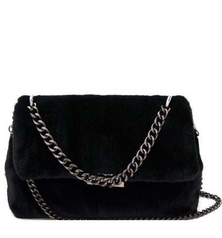 Victoria Faux Fur Crossbody in Black