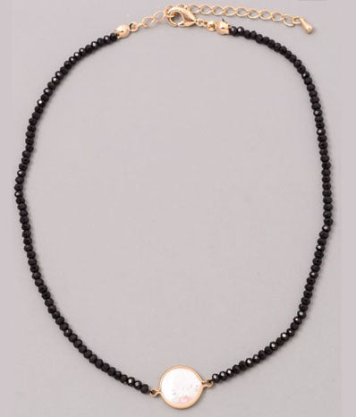 Pearl and Black Bead Choker