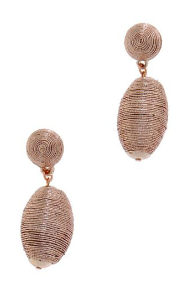 Thread Ball and Teardrop Earrings in Metallic Rose Gold