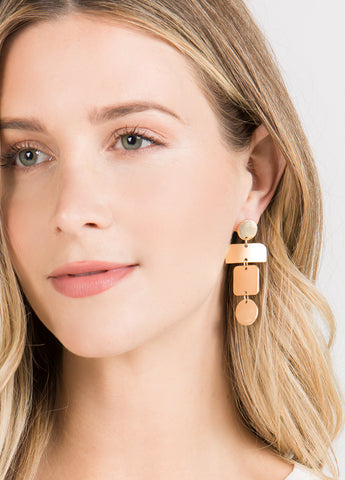 Tiered Geometric Drop Earrings in Matte Gold