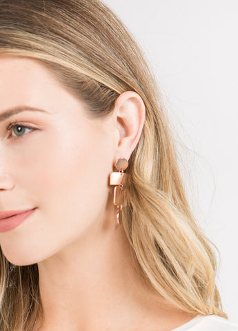 Tiered Geometric Drop Earrings in Matte Rose Gold