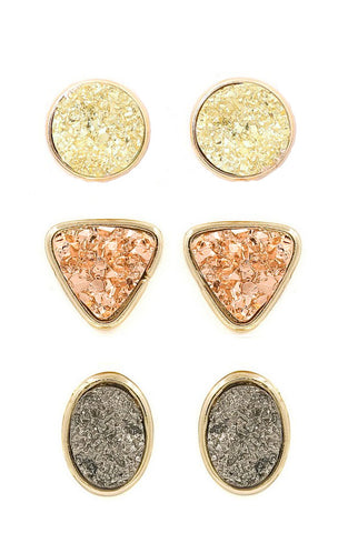 Metallic Druzy Stud Set