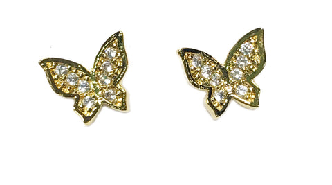 CZ Butterfly Studs in Gold